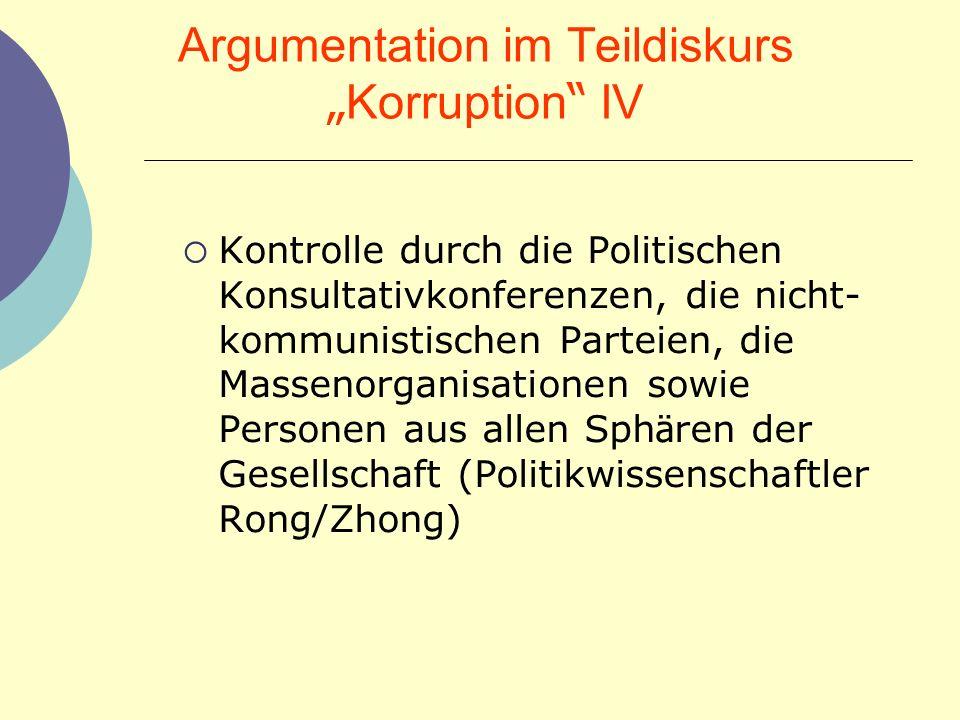 Argumentation im Teildiskurs Korruption IV Kontrolle durch die Politischen Konsultativkonferenzen, die nicht- kommunistischen Parteien, die Massenorga