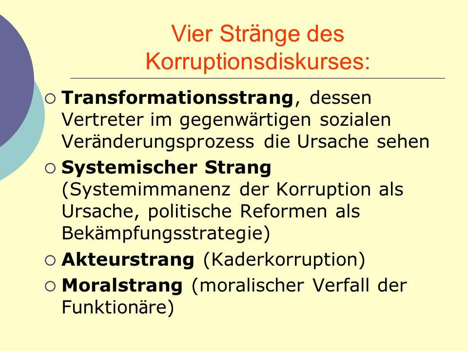 Vier Str ä nge des Korruptionsdiskurses: Transformationsstrang, dessen Vertreter im gegenw ä rtigen sozialen Ver ä nderungsprozess die Ursache sehen S