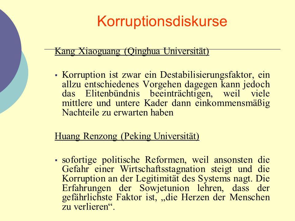 Korruptionsdiskurse Kang Xiaoguang (Qinghua Universität) Korruption ist zwar ein Destabilisierungsfaktor, ein allzu entschiedenes Vorgehen dagegen kan