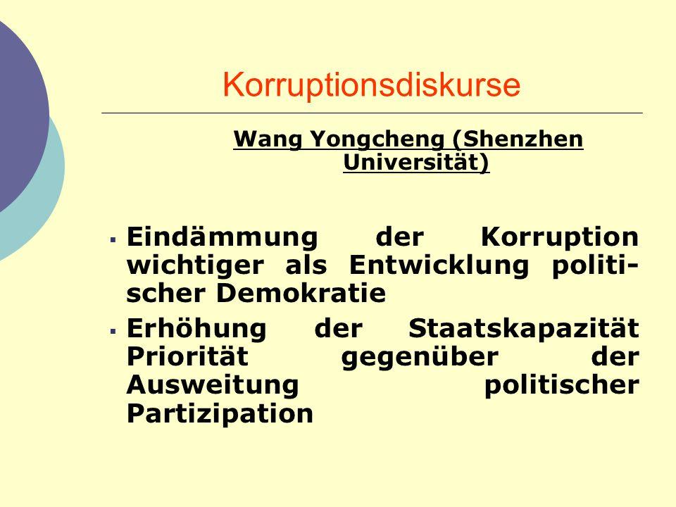 Korruptionsdiskurse Wang Yongcheng (Shenzhen Universität) Eindämmung der Korruption wichtiger als Entwicklung politi- scher Demokratie Erhöhung der St