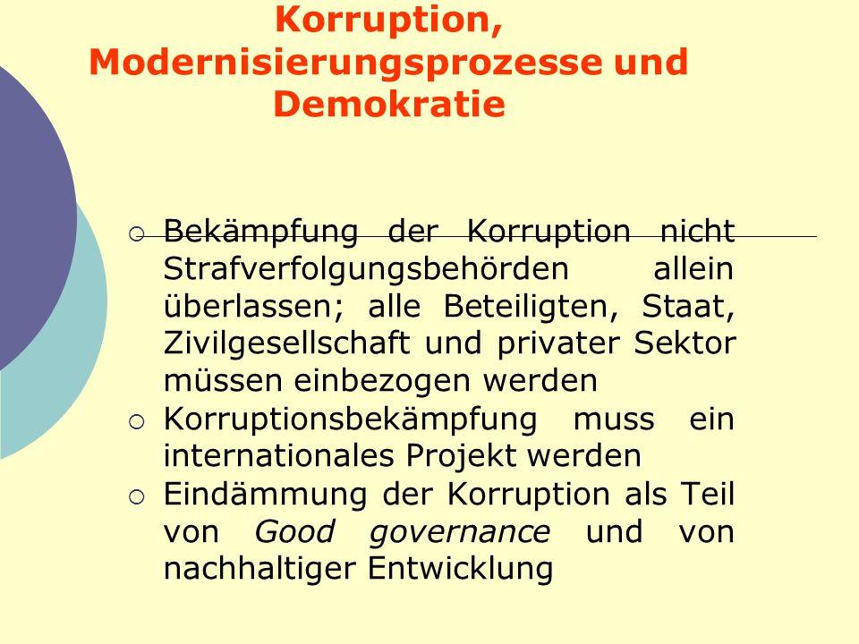 Korruption, Modernisierungsprozesse und Demokratie Bekämpfung der Korruption nicht Strafverfolgungsbehörden allein überlassen; alle Beteiligten, Staat