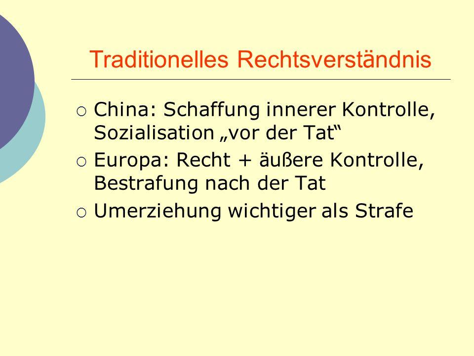 Traditionelles Rechtsverst ä ndnis China: Schaffung innerer Kontrolle, Sozialisation vor der Tat Europa: Recht + ä u ß ere Kontrolle, Bestrafung nach