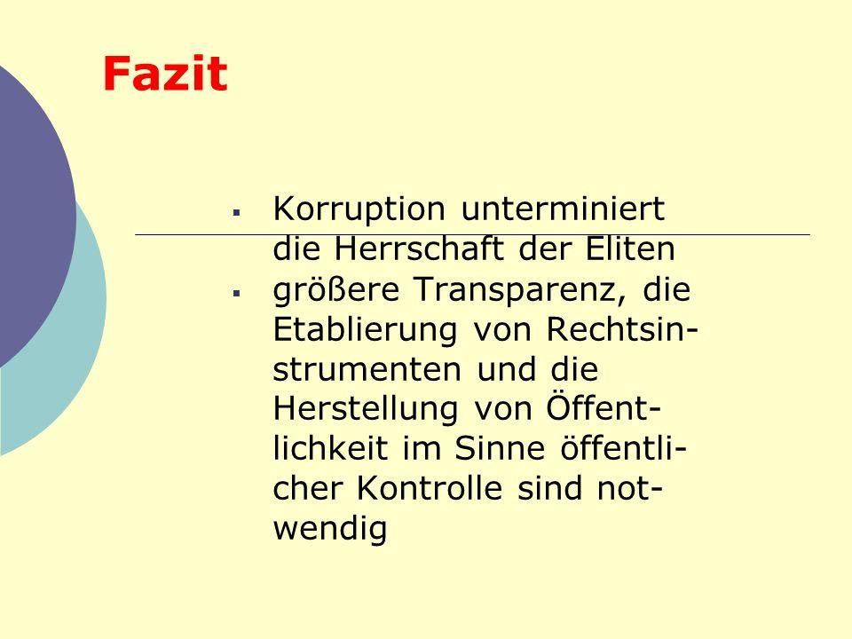 Fazit Korruption unterminiert die Herrschaft der Eliten größere Transparenz, die Etablierung von Rechtsin- strumenten und die Herstellung von Öffent-