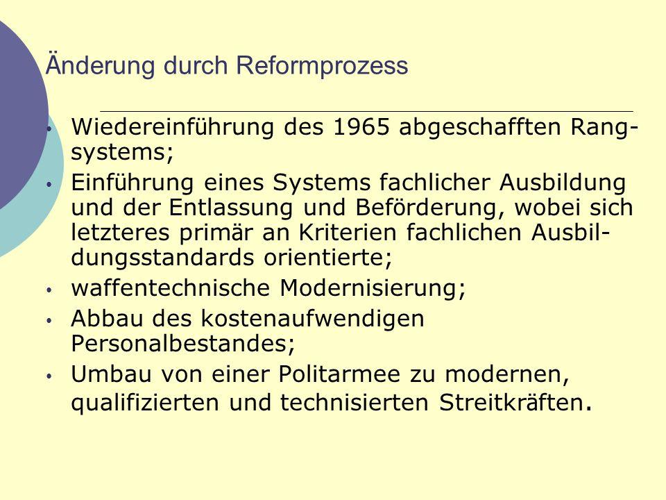 Ä nderung durch Reformprozess Wiedereinf ü hrung des 1965 abgeschafften Rang- systems; Einf ü hrung eines Systems fachlicher Ausbildung und der Entlas