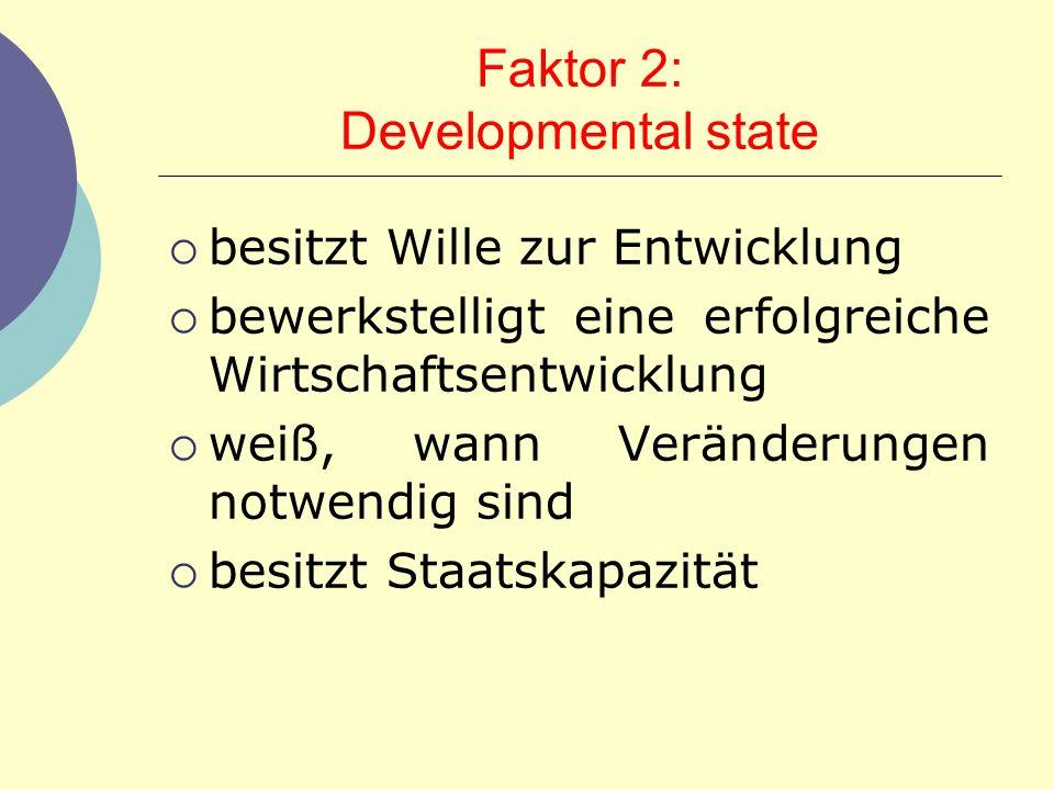 Faktor 2: Developmental state besitzt Wille zur Entwicklung bewerkstelligt eine erfolgreiche Wirtschaftsentwicklung weiß, wann Veränderungen notwendig
