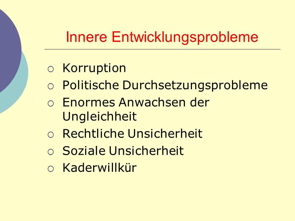 Innere Entwicklungsprobleme Korruption Politische Durchsetzungsprobleme Enormes Anwachsen der Ungleichheit Rechtliche Unsicherheit Soziale Unsicherhei