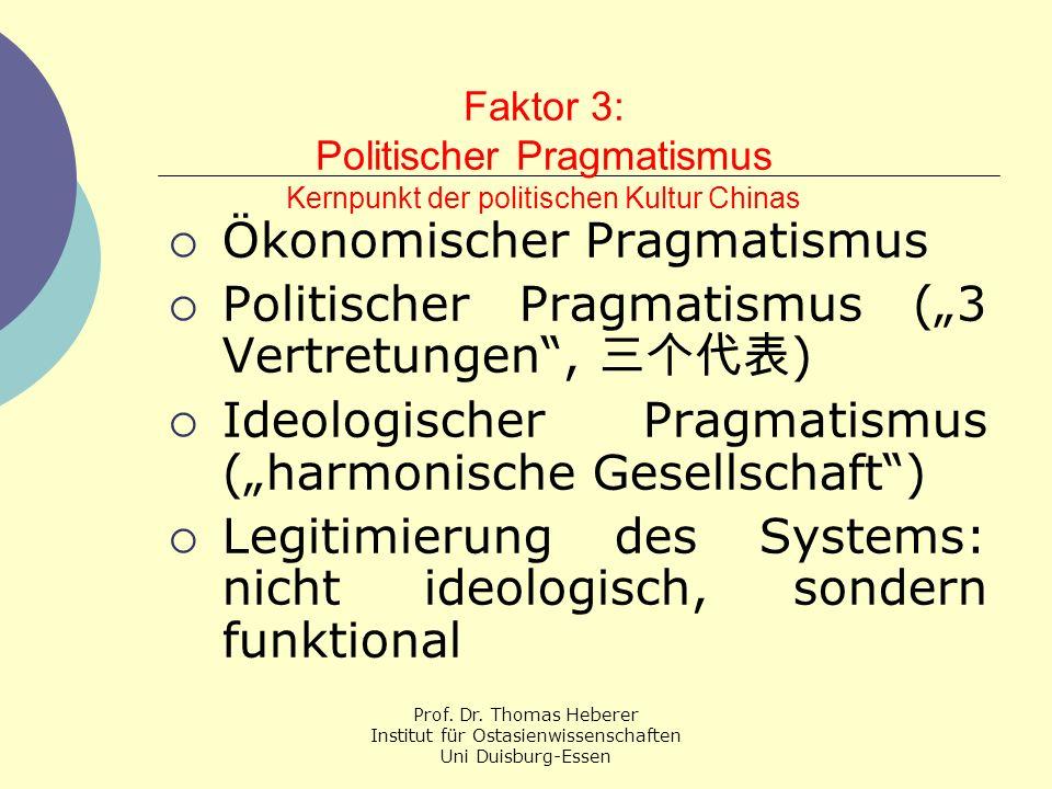 Prof. Dr. Thomas Heberer Institut für Ostasienwissenschaften Uni Duisburg-Essen Faktor 3: Politischer Pragmatismus Kernpunkt der politischen Kultur Ch