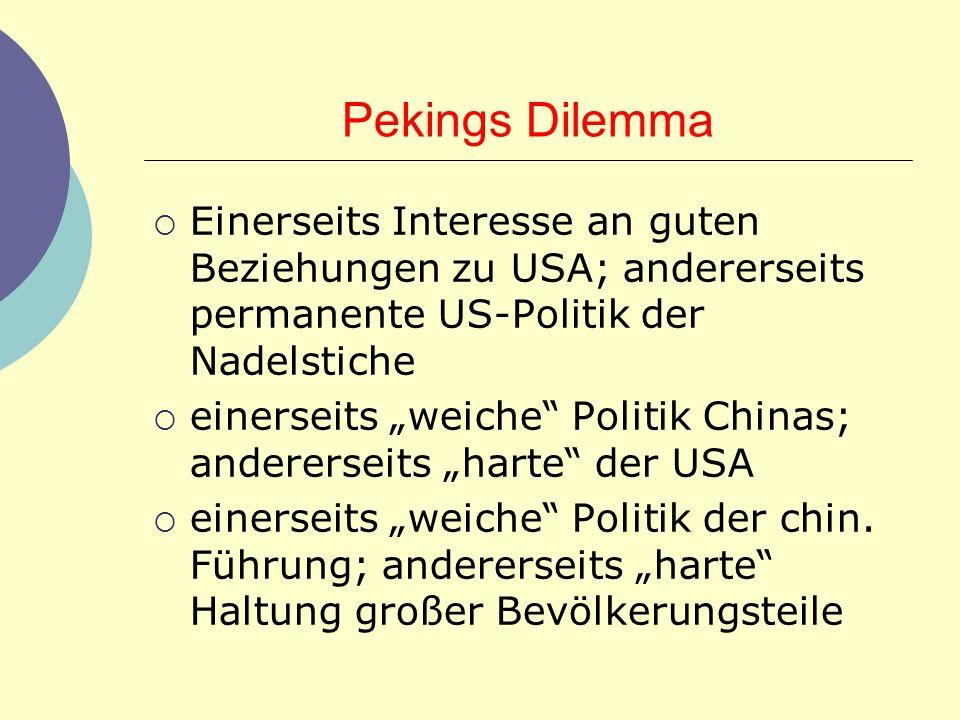 Pekings Dilemma Einerseits Interesse an guten Beziehungen zu USA; andererseits permanente US-Politik der Nadelstiche einerseits weiche Politik Chinas;