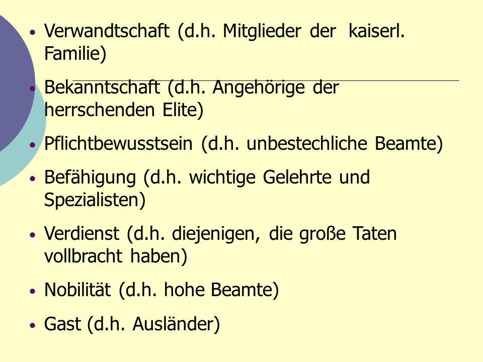 Verwandtschaft (d.h. Mitglieder der kaiserl. Familie) Bekanntschaft (d.h. Angehörige der herrschenden Elite) Pflichtbewusstsein (d.h. unbestechliche B