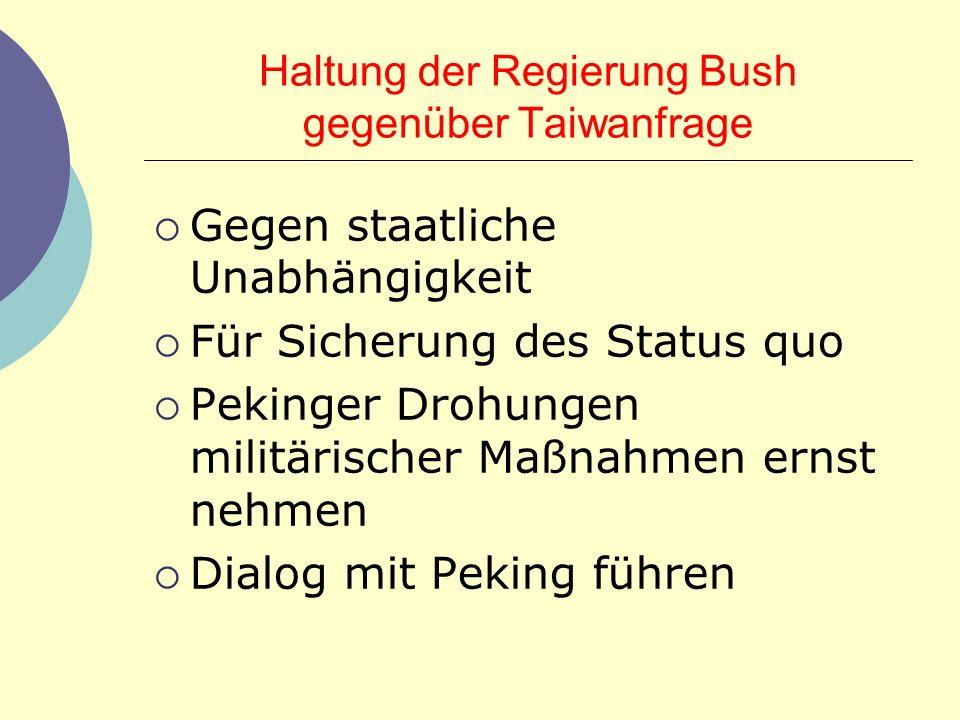Haltung der Regierung Bush gegenüber Taiwanfrage Gegen staatliche Unabhängigkeit Für Sicherung des Status quo Pekinger Drohungen militärischer Maßnahm