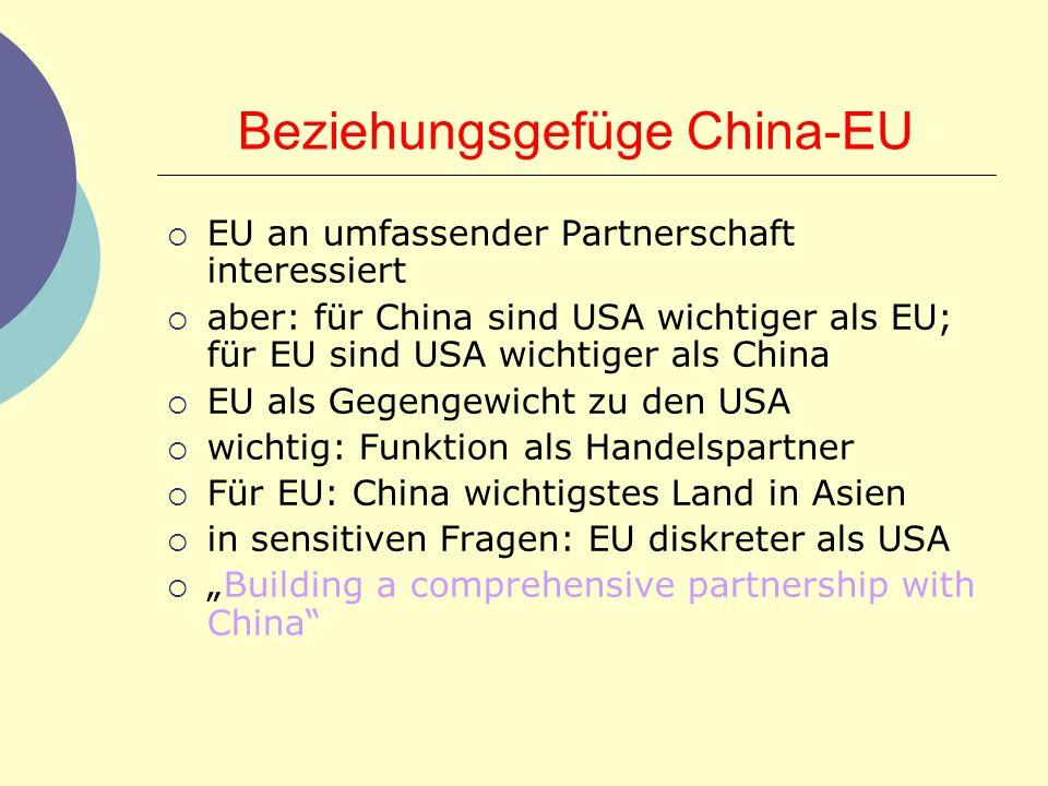 Beziehungsgefüge China-EU EU an umfassender Partnerschaft interessiert aber: für China sind USA wichtiger als EU; für EU sind USA wichtiger als China