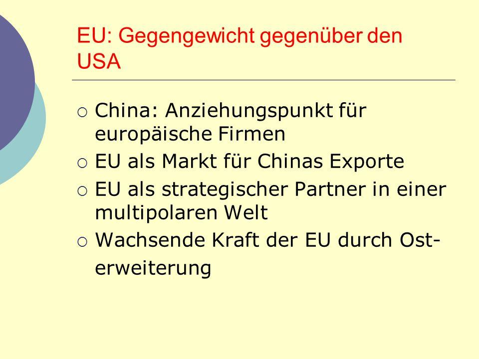 EU: Gegengewicht gegenüber den USA China: Anziehungspunkt für europäische Firmen EU als Markt für Chinas Exporte EU als strategischer Partner in einer