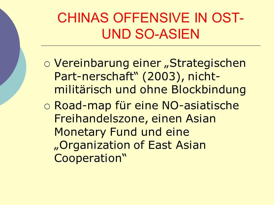 CHINAS OFFENSIVE IN OST- UND SO-ASIEN Vereinbarung einer Strategischen Part-nerschaft (2003), nicht- militärisch und ohne Blockbindung Road-map für ei