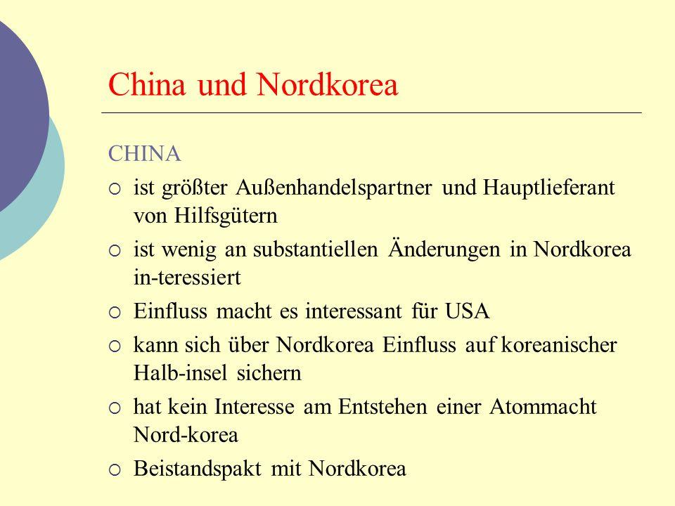 China und Nordkorea CHINA ist größter Außenhandelspartner und Hauptlieferant von Hilfsgütern ist wenig an substantiellen Änderungen in Nordkorea in-te