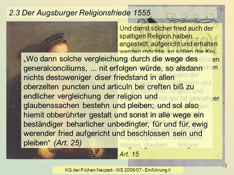 KG der Frühen Neuzeit - WS 2006/07 - Einführung II 10 2.3 Der Augsburger Religionsfriede 1555 Und damit sölcher fried auch der spaltigen Religion halb