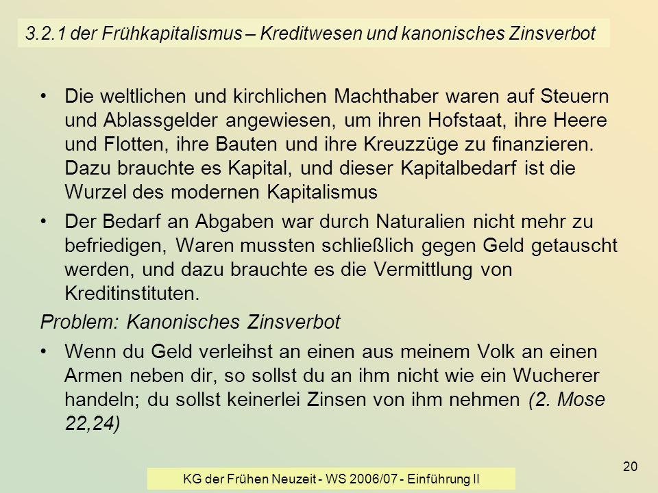 KG der Frühen Neuzeit - WS 2006/07 - Einführung II 20 3.2.1 der Frühkapitalismus – Kreditwesen und kanonisches Zinsverbot Die weltlichen und kirchlich
