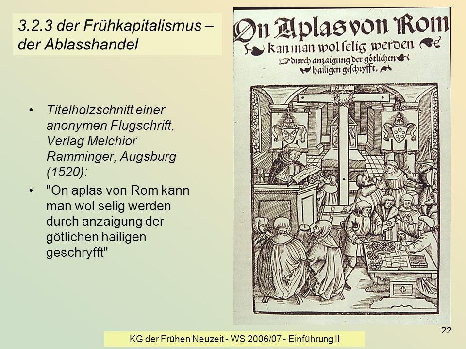 KG der Frühen Neuzeit - WS 2006/07 - Einführung II 22 3.2.3 der Frühkapitalismus – der Ablasshandel Titelholzschnitt einer anonymen Flugschrift, Verla