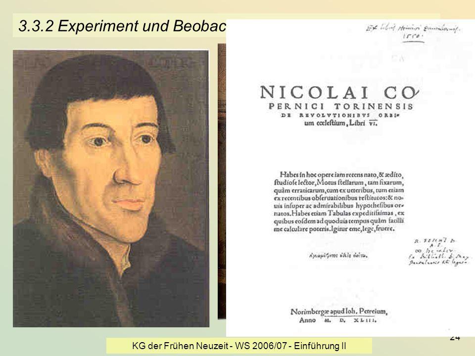 KG der Frühen Neuzeit - WS 2006/07 - Einführung II 24 3.3.2 Experiment und Beobachtung - Kopernikus