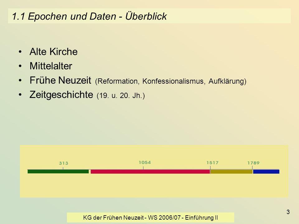 KG der Frühen Neuzeit - WS 2006/07 - Einführung II 3 1.1 Epochen und Daten - Überblick Alte Kirche Mittelalter Frühe Neuzeit (Reformation, Konfessiona