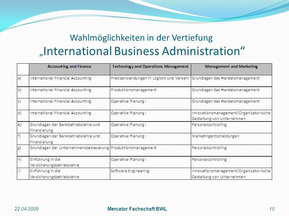 Wahlmöglichkeiten in der Vertiefung International Business Administration 22.04.2009Mercator Fachschaft BWL10