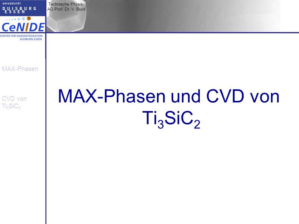 Technische Physik AG Prof. Dr. V. Buck MAX-Phasen CVD von Ti 3 SiC 2 MAX-Phasen und CVD von Ti 3 SiC 2
