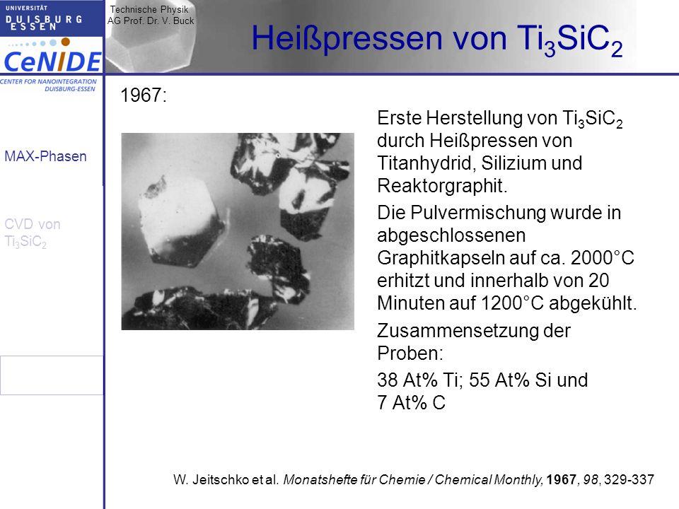 Technische Physik AG Prof. Dr. V. Buck MAX-Phasen CVD von Ti 3 SiC 2 Heißpressen von Ti 3 SiC 2 Erste Herstellung von Ti 3 SiC 2 durch Heißpressen von