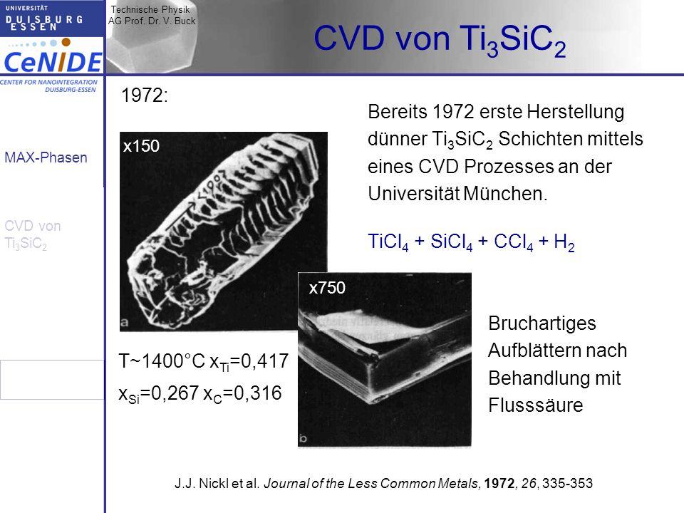 Technische Physik AG Prof. Dr. V. Buck MAX-Phasen CVD von Ti 3 SiC 2 Bereits 1972 erste Herstellung dünner Ti 3 SiC 2 Schichten mittels eines CVD Proz