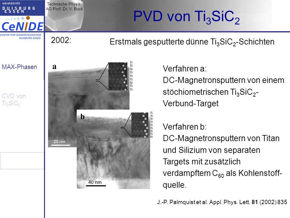 Technische Physik AG Prof. Dr. V. Buck MAX-Phasen CVD von Ti 3 SiC 2 PVD von Ti 3 SiC 2 Erstmals gesputterte dünne Ti 3 SiC 2 -Schichten J.-P. Palmqui