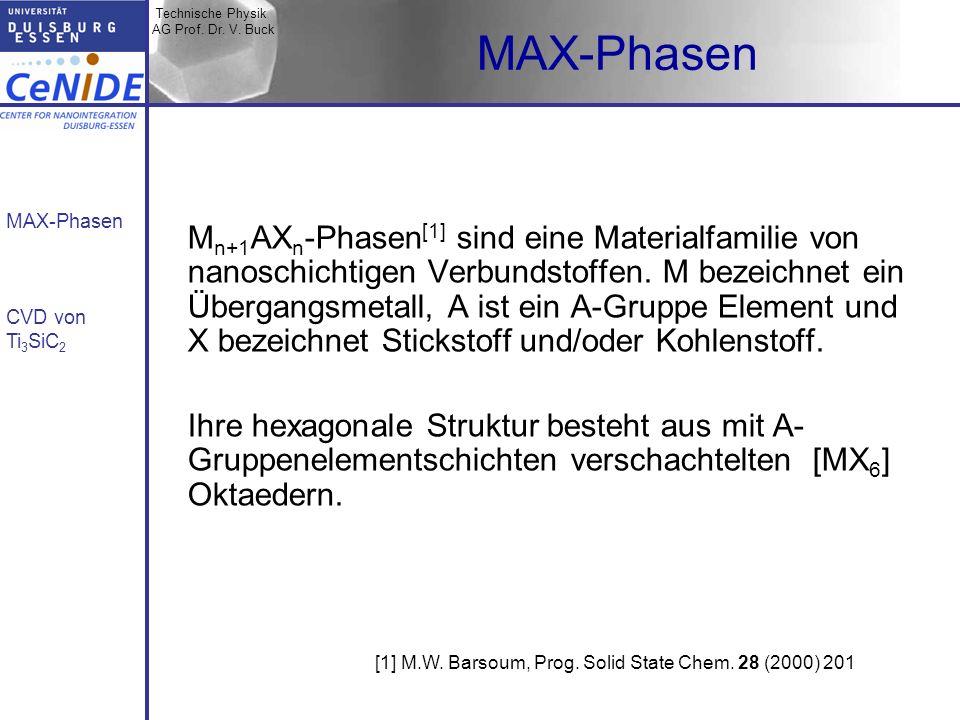 Technische Physik AG Prof. Dr. V. Buck MAX-Phasen CVD von Ti 3 SiC 2 MAX-Phasen M n+1 AX n -Phasen [1] sind eine Materialfamilie von nanoschichtigen V