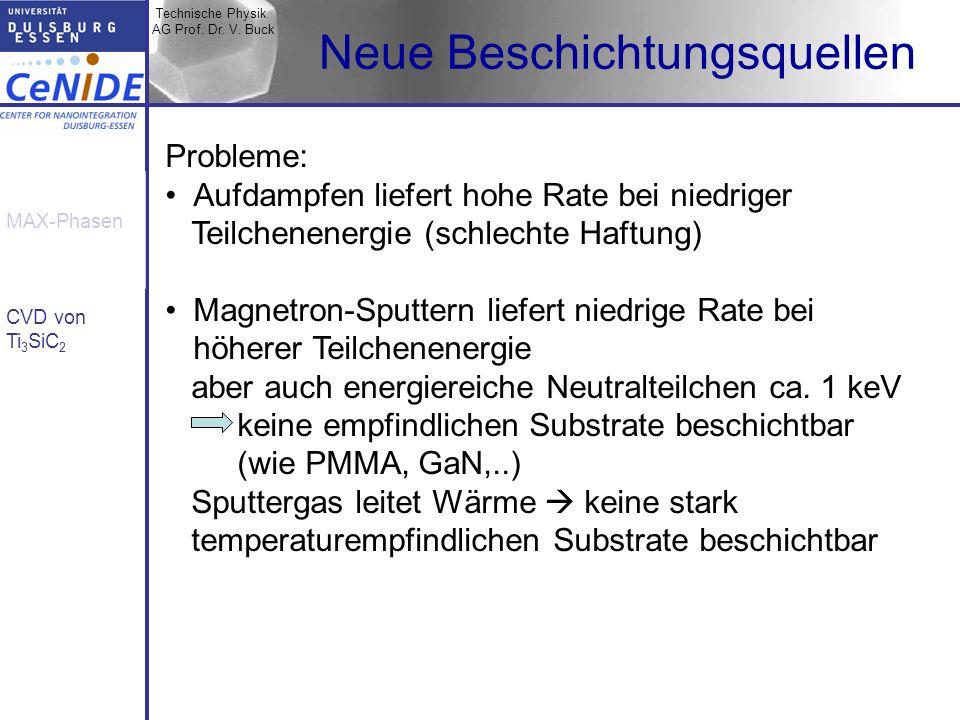 Technische Physik AG Prof. Dr. V. Buck MAX-Phasen CVD von Ti 3 SiC 2 Neue Beschichtungsquellen Probleme: Aufdampfen liefert hohe Rate bei niedriger Te