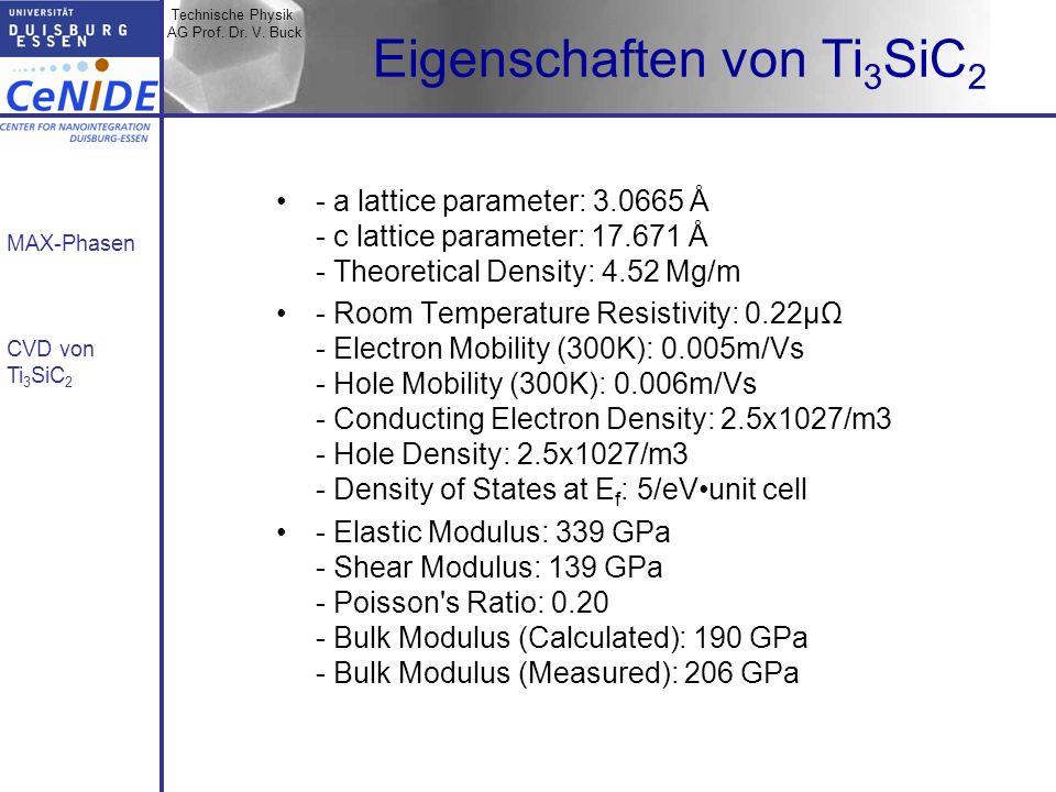 Technische Physik AG Prof. Dr. V. Buck MAX-Phasen CVD von Ti 3 SiC 2 Eigenschaften von Ti 3 SiC 2 - a lattice parameter: 3.0665 Å - c lattice paramete
