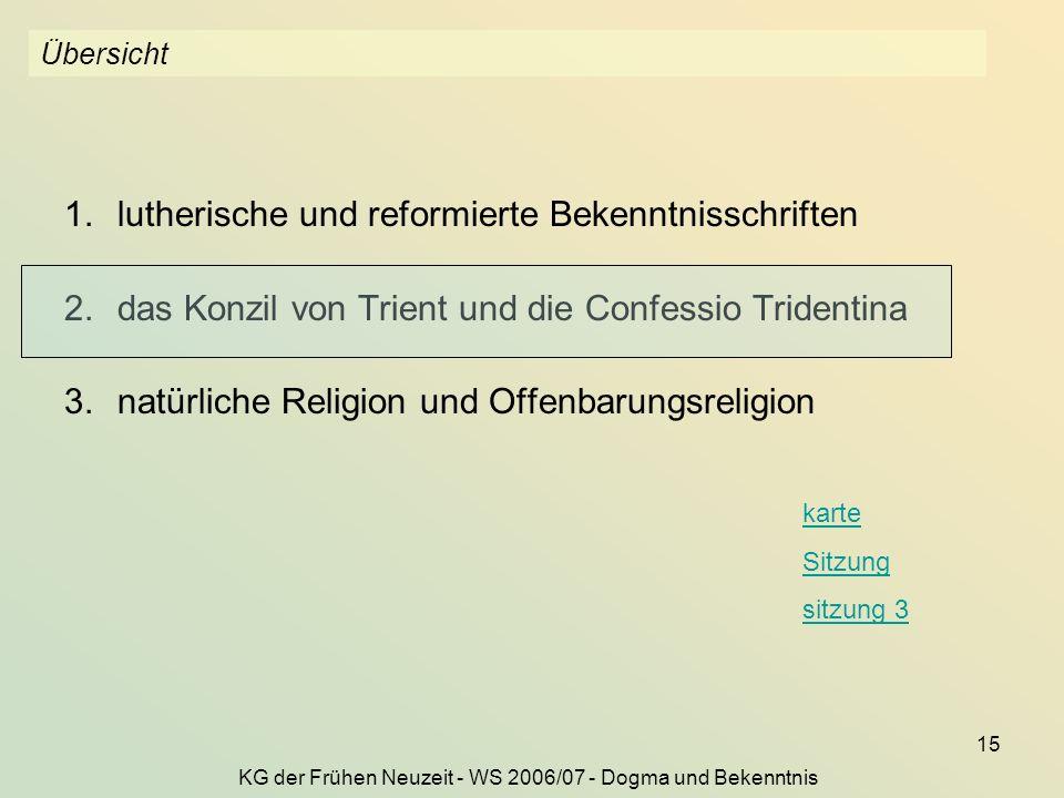 KG der Frühen Neuzeit - WS 2006/07 - Dogma und Bekenntnis 15 Übersicht 1.lutherische und reformierte Bekenntnisschriften 2.das Konzil von Trient und d