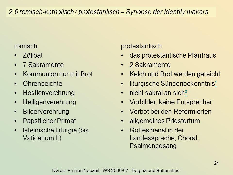 KG der Frühen Neuzeit - WS 2006/07 - Dogma und Bekenntnis 24 2.6 römisch-katholisch / protestantisch – Synopse der Identity makers römisch Zölibat 7 S