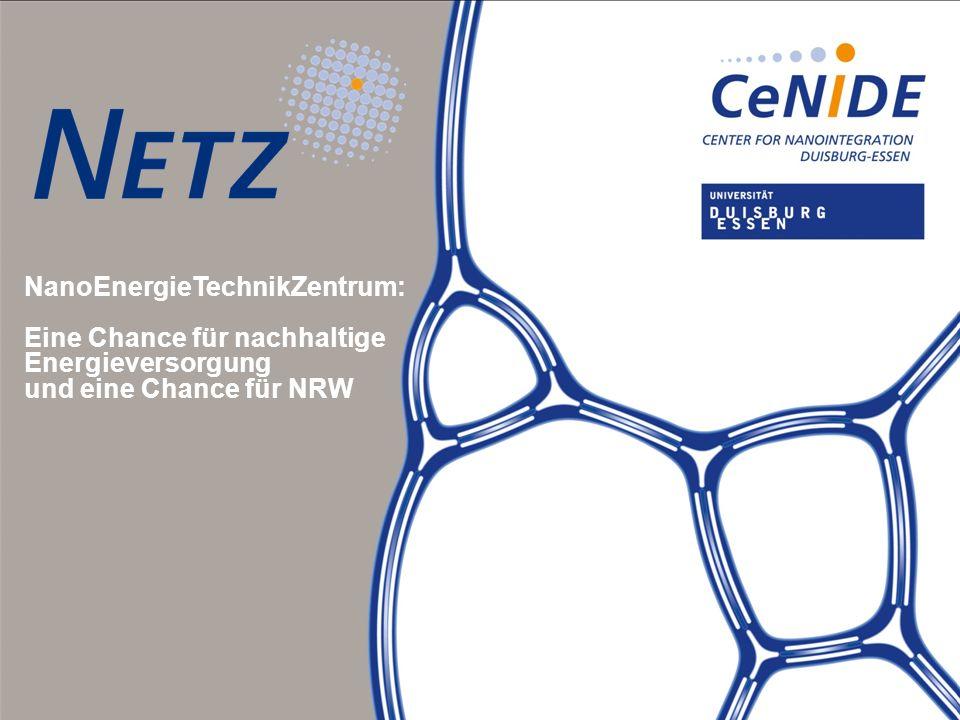 Titel Titel Subtitel Subtitel Subtitel Subtitel NanoEnergieTechnikZentrum: Eine Chance für nachhaltige Energieversorgung und eine Chance für NRW