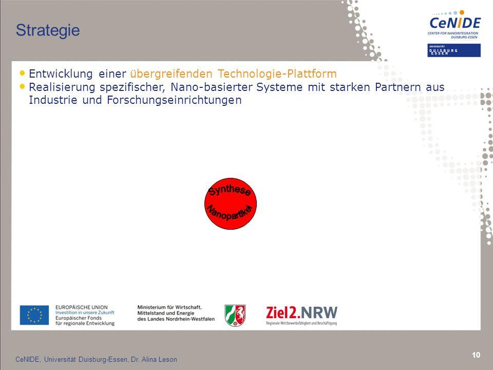 10 Strategie Entwicklung einer übergreifenden Technologie-Plattform Realisierung spezifischer, Nano-basierter Systeme mit starken Partnern aus Industrie und Forschungseinrichtungen CeNIDE, Universität Duisburg-Essen, Dr.