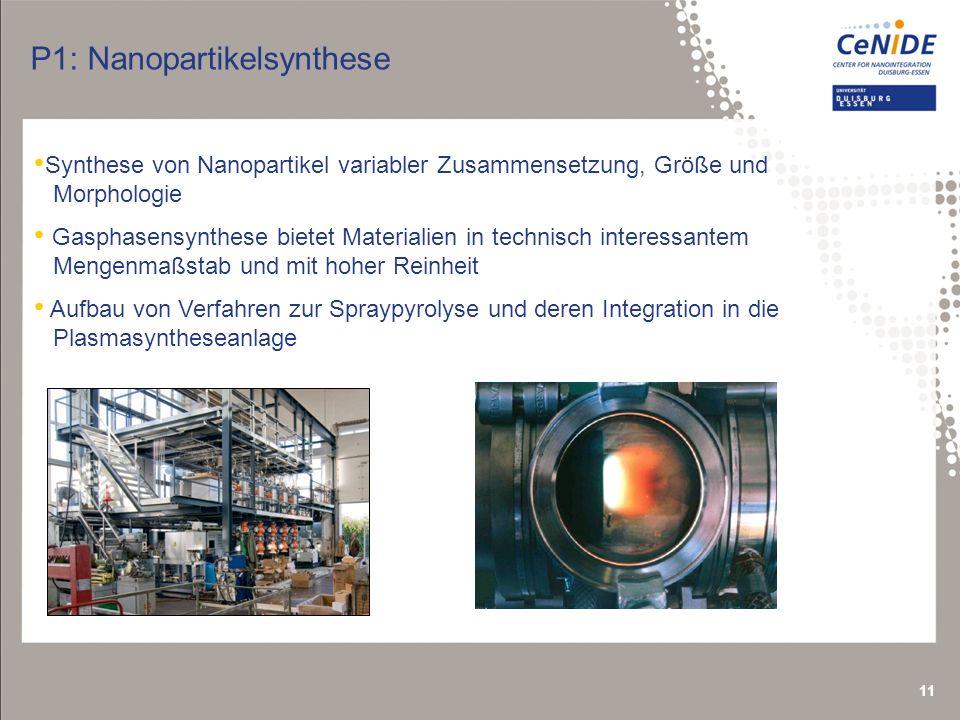 11 Synthese von Nanopartikel variabler Zusammensetzung, Größe und Morphologie Gasphasensynthese bietet Materialien in technisch interessantem Mengenmaßstab und mit hoher Reinheit Aufbau von Verfahren zur Spraypyrolyse und deren Integration in die Plasmasyntheseanlage P1: Nanopartikelsynthese