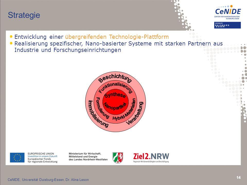 14 Strategie Entwicklung einer übergreifenden Technologie-Plattform Realisierung spezifischer, Nano-basierter Systeme mit starken Partnern aus Industrie und Forschungseinrichtungen CeNIDE, Universität Duisburg-Essen, Dr.
