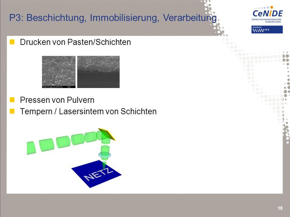 15 P3: Beschichtung, Immobilisierung, Verarbeitung nDrucken von Pasten/Schichten nPressen von Pulvern nTempern / Lasersintern von Schichten