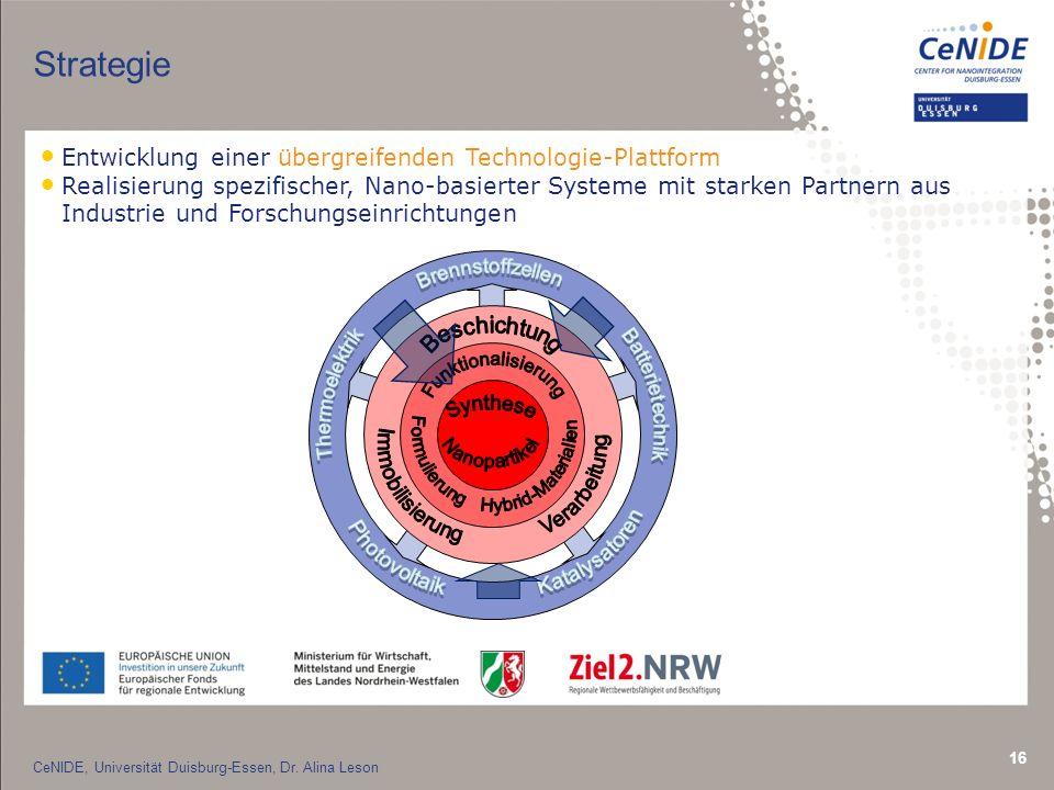 16 Strategie Entwicklung einer übergreifenden Technologie-Plattform Realisierung spezifischer, Nano-basierter Systeme mit starken Partnern aus Industrie und Forschungseinrichtungen CeNIDE, Universität Duisburg-Essen, Dr.