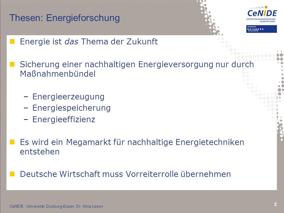 2 nEnergie ist das Thema der Zukunft nSicherung einer nachhaltigen Energieversorgung nur durch Maßnahmenbündel –Energieerzeugung –Energiespeicherung –Energieeffizienz nEs wird ein Megamarkt für nachhaltige Energietechniken entstehen nDeutsche Wirtschaft muss Vorreiterrolle übernehmen Thesen: Energieforschung CeNIDE, Universität Duisburg-Essen, Dr.