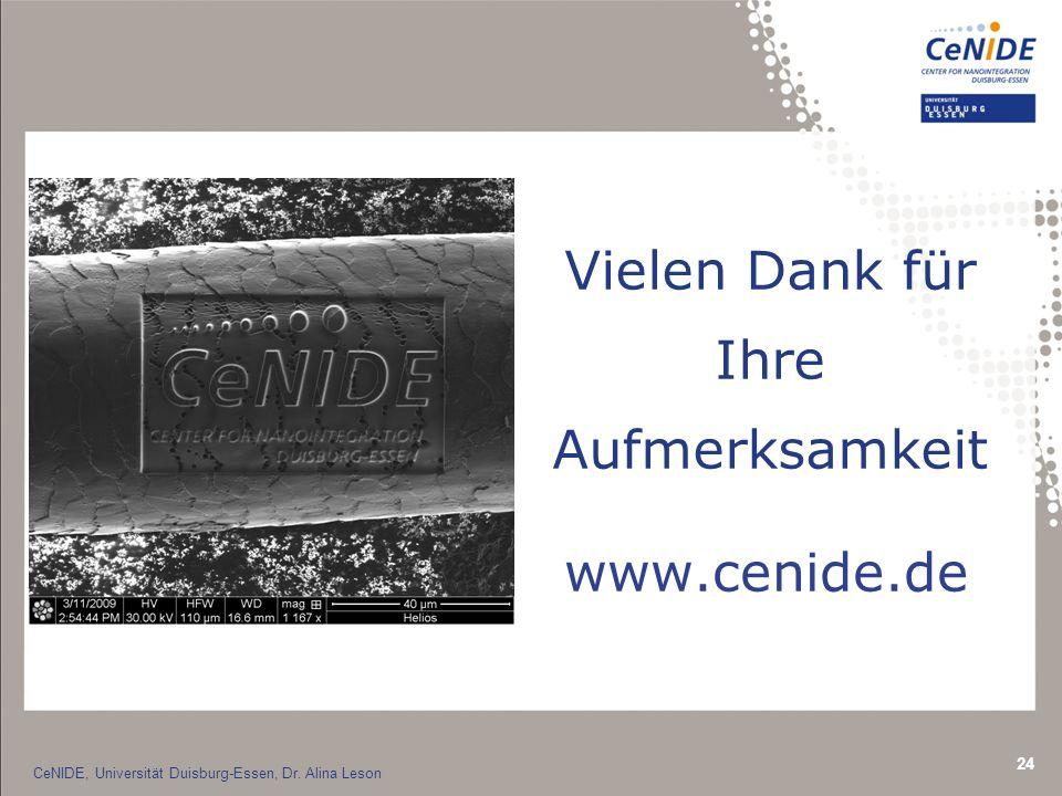 24 Vielen Dank für Ihre Aufmerksamkeit CeNIDE, Universität Duisburg-Essen, Dr.