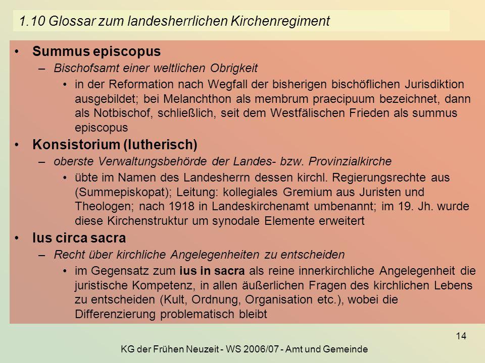 KG der Frühen Neuzeit - WS 2006/07 - Amt und Gemeinde 14 1.10 Glossar zum landesherrlichen Kirchenregiment Summus episcopus –Bischofsamt einer weltlic