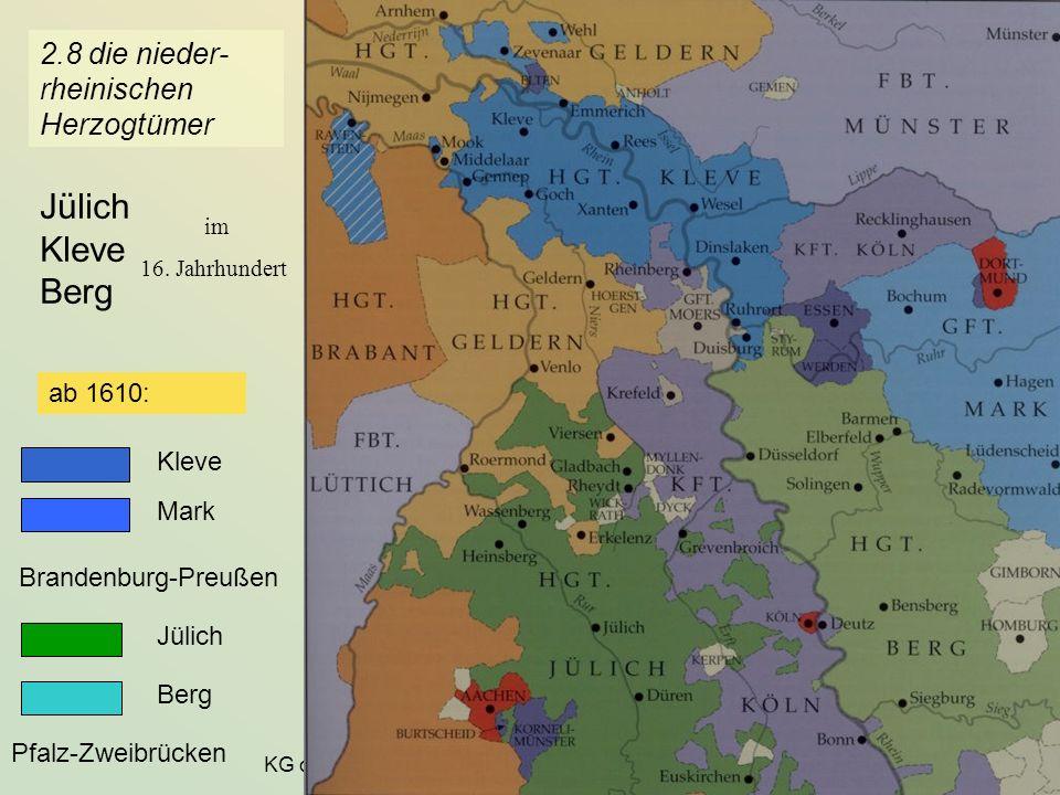KG der Frühen Neuzeit - WS 2006/07 - Amt und Gemeinde 23 2.8 die nieder- rheinischen Herzogtümer Jülich Kleve Berg im 16. Jahrhundert Kleve Mark ab 16