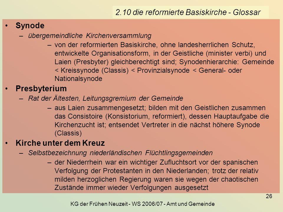 KG der Frühen Neuzeit - WS 2006/07 - Amt und Gemeinde 26 2.10 die reformierte Basiskirche - Glossar Synode –übergemeindliche Kirchenversammlung –von d