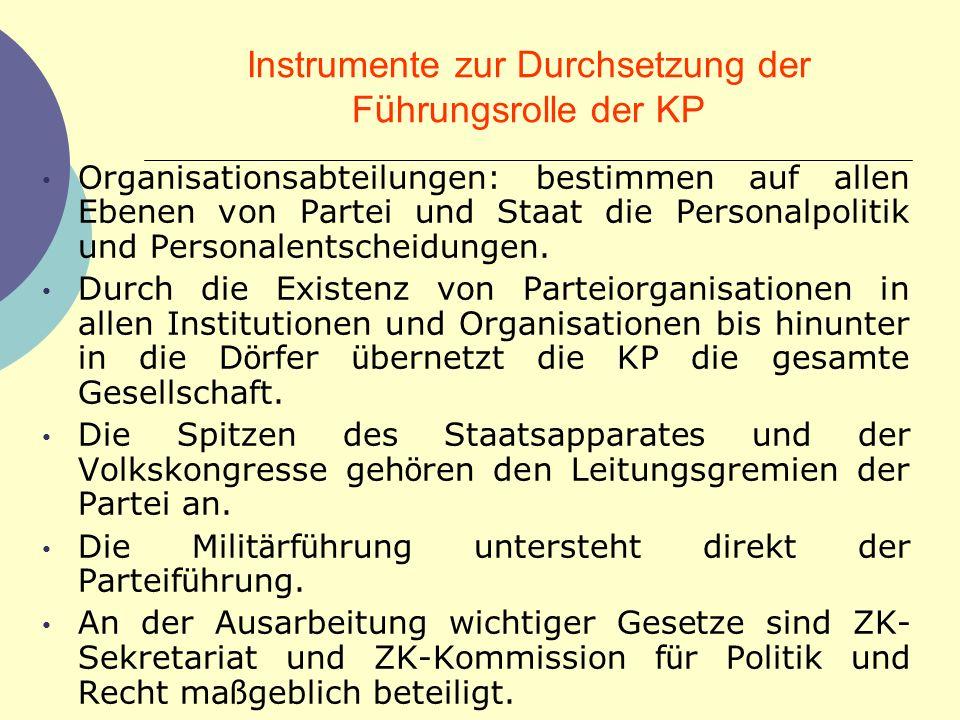 Instrumente zur Durchsetzung der F ü hrungsrolle der KP Organisationsabteilungen: bestimmen auf allen Ebenen von Partei und Staat die Personalpolitik