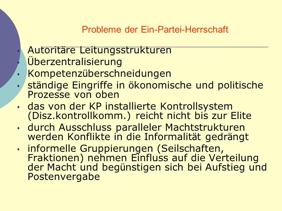 Probleme der Ein-Partei-Herrschaft Autorit ä re Leitungsstrukturen Ü berzentralisierung Kompetenz ü berschneidungen st ä ndige Eingriffe in ö konomisc