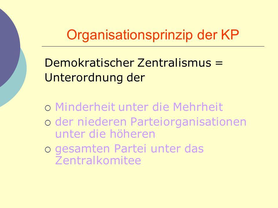 Organisationsprinzip der KP Demokratischer Zentralismus = Unterordnung der Minderheit unter die Mehrheit der niederen Parteiorganisationen unter die h