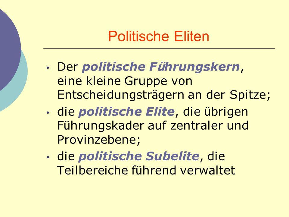 Politische Eliten Der politische F ü hrungskern, eine kleine Gruppe von Entscheidungstr ä gern an der Spitze; die politische Elite, die ü brigen F ü h