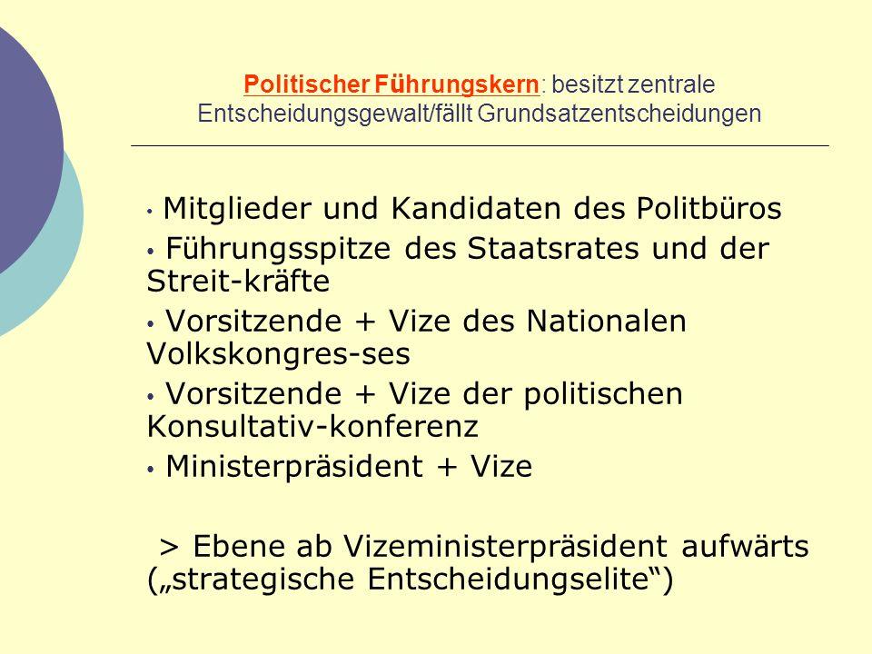Politischer F ü hrungskern: besitzt zentrale Entscheidungsgewalt/f ä llt Grundsatzentscheidungen Mitglieder und Kandidaten des Politb ü ros F ü hrungs