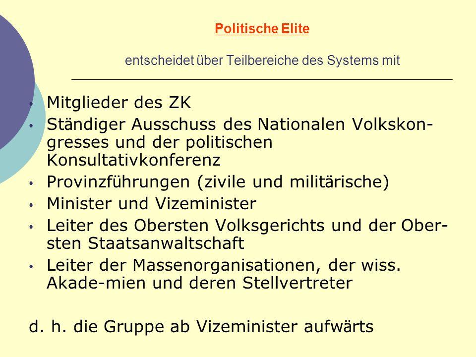 Politische Elite entscheidet ü ber Teilbereiche des Systems mit Mitglieder des ZK St ä ndiger Ausschuss des Nationalen Volkskon- gresses und der polit